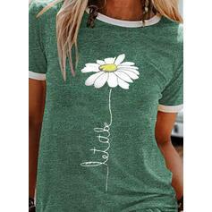Figur Blumen Druck Rundhalsausschnitt Kurze Ärmel T-Shirts