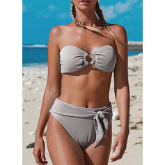 High Waist Splice color Strapless Fresh Bikinis Swimsuits