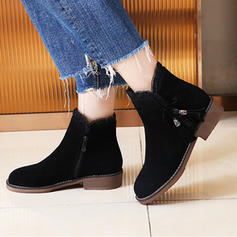 Women's Suede Chunky Heel Ankle Boots With Zipper Tassel shoes