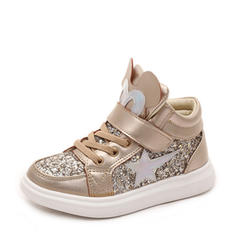 Girl's Leatherette Sparkling Glitter Flat Heel Round Toe Flats Sneakers & Athletic With Velcro