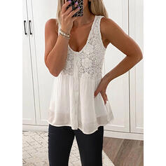 Lace Solid U-Neck Sleeveless Tank Tops