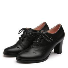Dla kobiet PU Obcas Slupek Zakryte Palce Z Sznurowanie obuwie