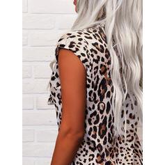 λεοπάρδαλη V-nyak Αμάνικο Μπλουζάκια
