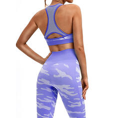 Round Neck Sleeveless Color Block Sports Leggings Sports Bras Yoga Sets