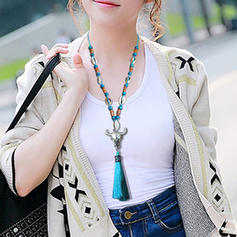 Fashionable Alloy Wooden Beads With Shell Women's Fashion Necklace
