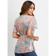 Print V-Neck Flare Sleeve Short Sleeves Casual Elegant Blouses