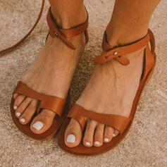 Femmes PU Talon plat Sandales Anneau d'orteil avec Ouvertes Entrecroisement chaussures