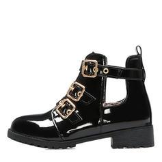 Vrouwen PU Flat Heel Flats Laarzen met Gesp Gesplitste Stof schoenen