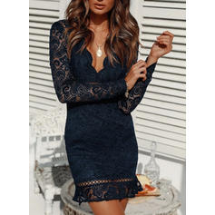 Lace/Solid Long Sleeves Bodycon Above Knee Sexy/Casual Dresses