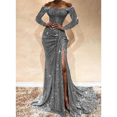 Sequins/Solid Long Sleeves Sheath Maxi Party/Elegant Dresses
