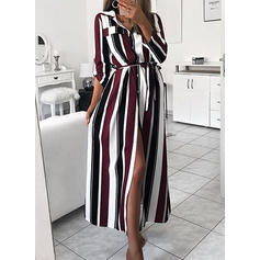 Striped Long Sleeves A-line Maxi Elegant Dresses
