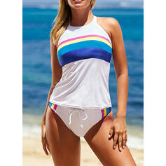 Stripe Round Neck High Neck Sports Vintage Tankinis Swimsuits