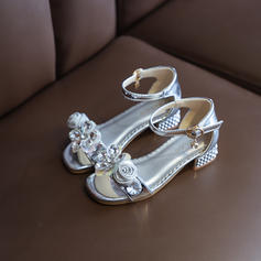 Girl's Leatherette Peep Toe Flower Girl Shoes With Bowknot