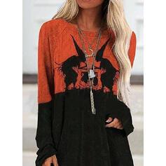 Print Halloween Round Neck Long Sleeves Sweatshirt