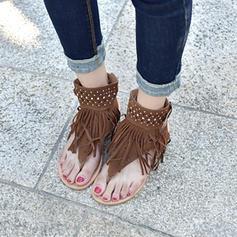 Vrouwen Suede Flat Heel Sandalen Flats met Tassel schoenen