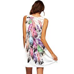 Print Sleeveless Shift Above Knee Casual/Vacation Dresses