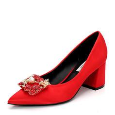 Femmes Satiné Talon bottier Escarpins Bout fermé avec Strass Perle d'imitation chaussures