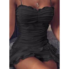 Solid Sleeveless Sheath Above Knee Sexy Dresses