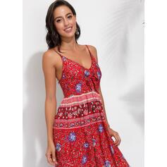 Print Sleeveless A-line Casual/Boho Maxi Dresses