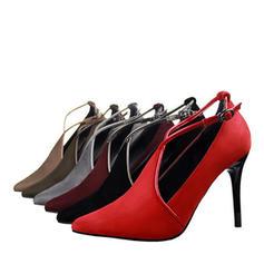 Mulheres Camurça Salto agulha Bombas Fechados com Fivela sapatos