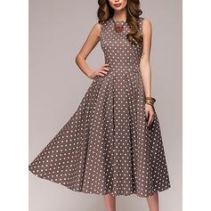 PolkaDot Round Neck Knee Length A-line Dress
