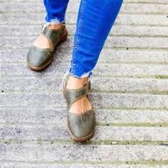 Vrouwen Suede Flat Heel Flats Closed Toe met Velcro schoenen