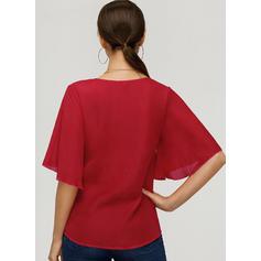 Solid V Neck 1/2 Sleeves Casual Elegant Blouses