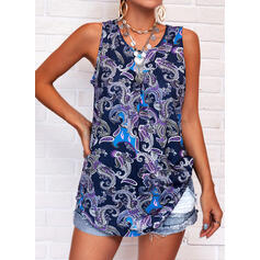 Print Round Neck Sleeveless Tank Tops