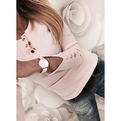 Solid Round Neck Long Sleeves Button Up Casual Elegant Knit Blouses