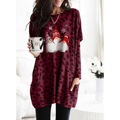 Print Leopard Pockets Round Neck Long Sleeves Christmas Sweatshirt