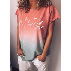 Print Gradient Heart Round Neck Short Sleeves Casual T-shirts