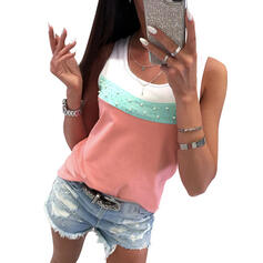 Bloque de color Cuello redondo Sin mangas Casual Camisetas sin mangas