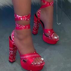 Dla kobiet PU Obcas Slupek Czólenka Otwarty Nosek Buta Z Sznurowanie Tkanina Wypalana Bandaż obuwie