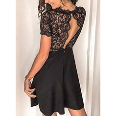 Lace/Solid Short Sleeves A-line Above Knee Little Black/Sexy/Casual/Party/Elegant Dresses