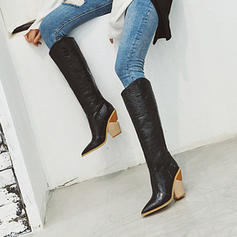 Women's Microfiber Leather Cone Heel Knee High Boots With Zipper shoes