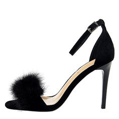 Women's Suede Stiletto Heel Sandals Pumps Peep Toe With Fur shoes