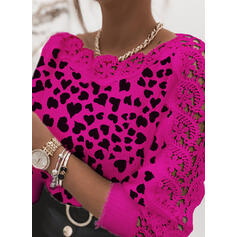 Print Lace Heart Round Neck Casual Sweaters