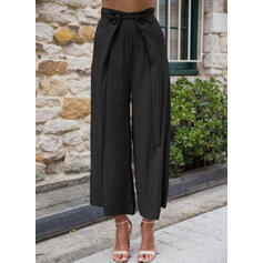 Pockets Shirred Plus Size Cropped Elegant Sexy Pants