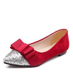 Femmes Similicuir Talon plat Chaussures plates avec Bowknot Paillette chaussures