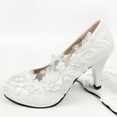 Women's Leatherette Spool Heel Closed Toe With Applique Pearl