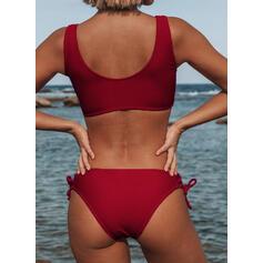 Color Sólido Cadena Correa Cuello en U Sexy Bikinis Trajes de baño