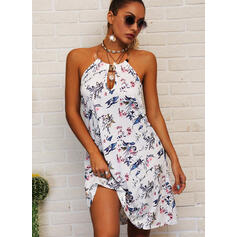 Print/Floral/Backless Sleeveless Shift Above Knee Casual Dresses