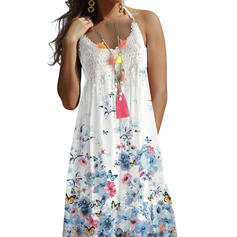 Lace/Print/Floral Sleeveless A-line Knee Length Casual/Vacation Dresses
