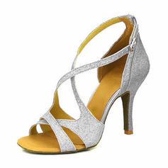 Women's Latin Heels Sandals Pumps Sparkling Glitter Latin