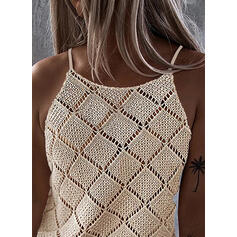 Solid Spaghetti Strap Sleeveless Casual Knit Tank Tops