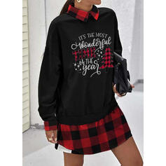 Print/Plaid Long Sleeves Shift Above Knee Christmas/Casual Sweatshirt Dresses