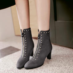 Pentru Femei Piele de Căprioară Toc gros Încălţăminte cu Toc Înalt Cizme cu Nit Fermoar pantofi