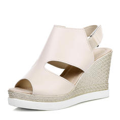 Women's PU Wedge Heel Sandals Wedges Peep Toe Slingbacks With Velcro shoes