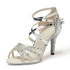 Women's Leatherette Sparkling Glitter Heels Sandals Latin Dance Shoes