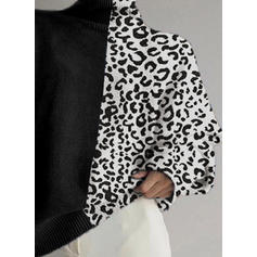 Animal Print Stand Collar Sweaters